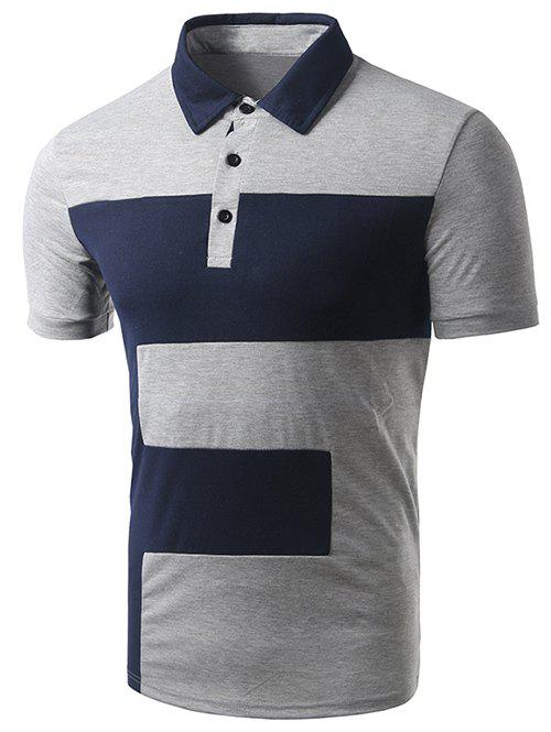 Men's Turn-down Collar Color Block Short Sleeve Polo T-Shirt - GRAY 2XL