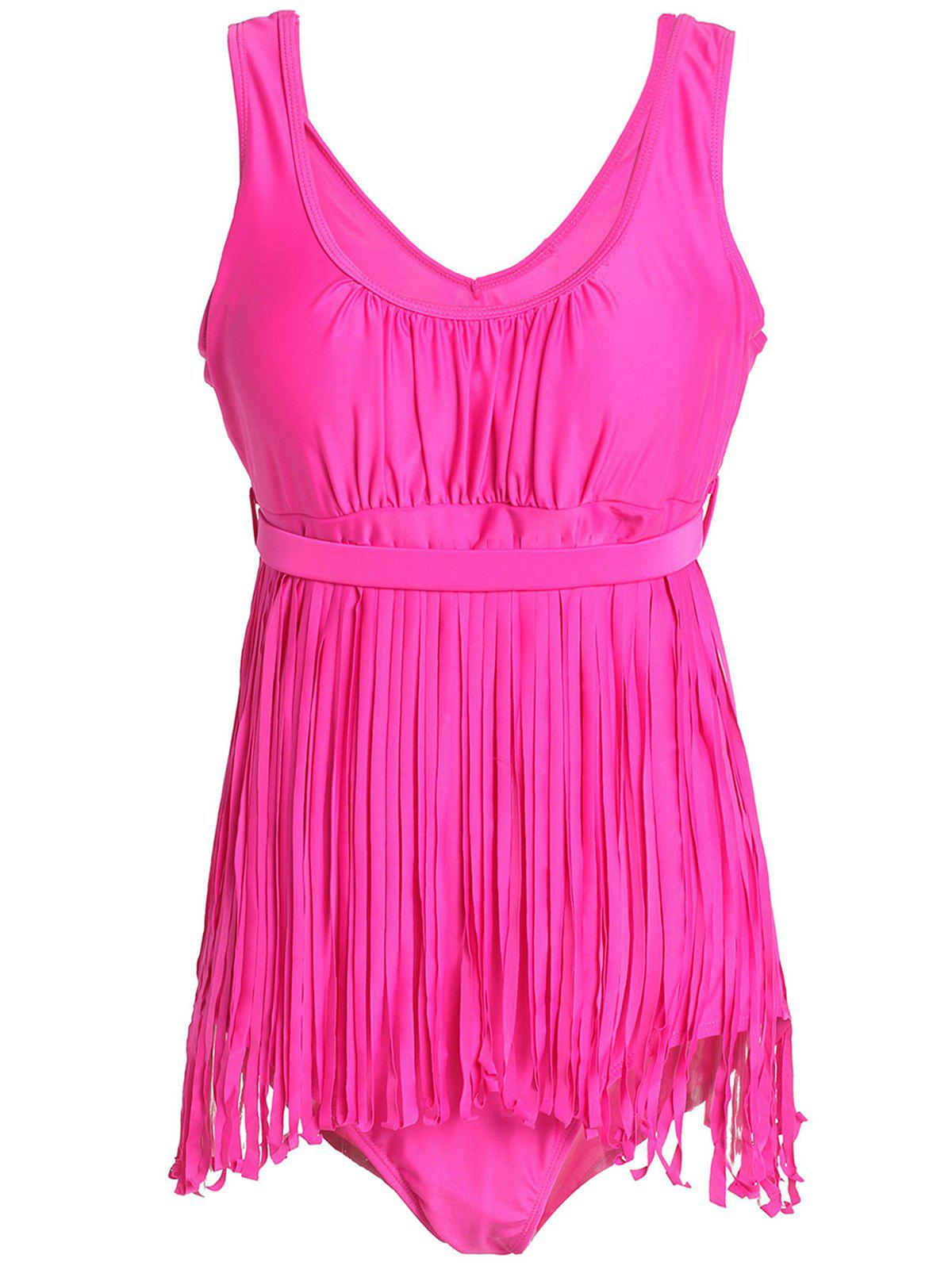 Scoop Neck Sleeveless Fringed Solid Color Women's Swimwear - ROSE 3XL
