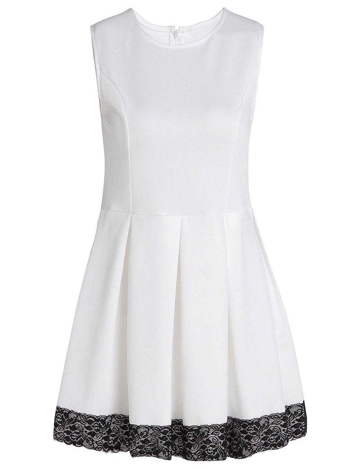 Fashionable Jewel Neck Sleeveless Lace Hem Pleated Dress For Women - WHITE XL