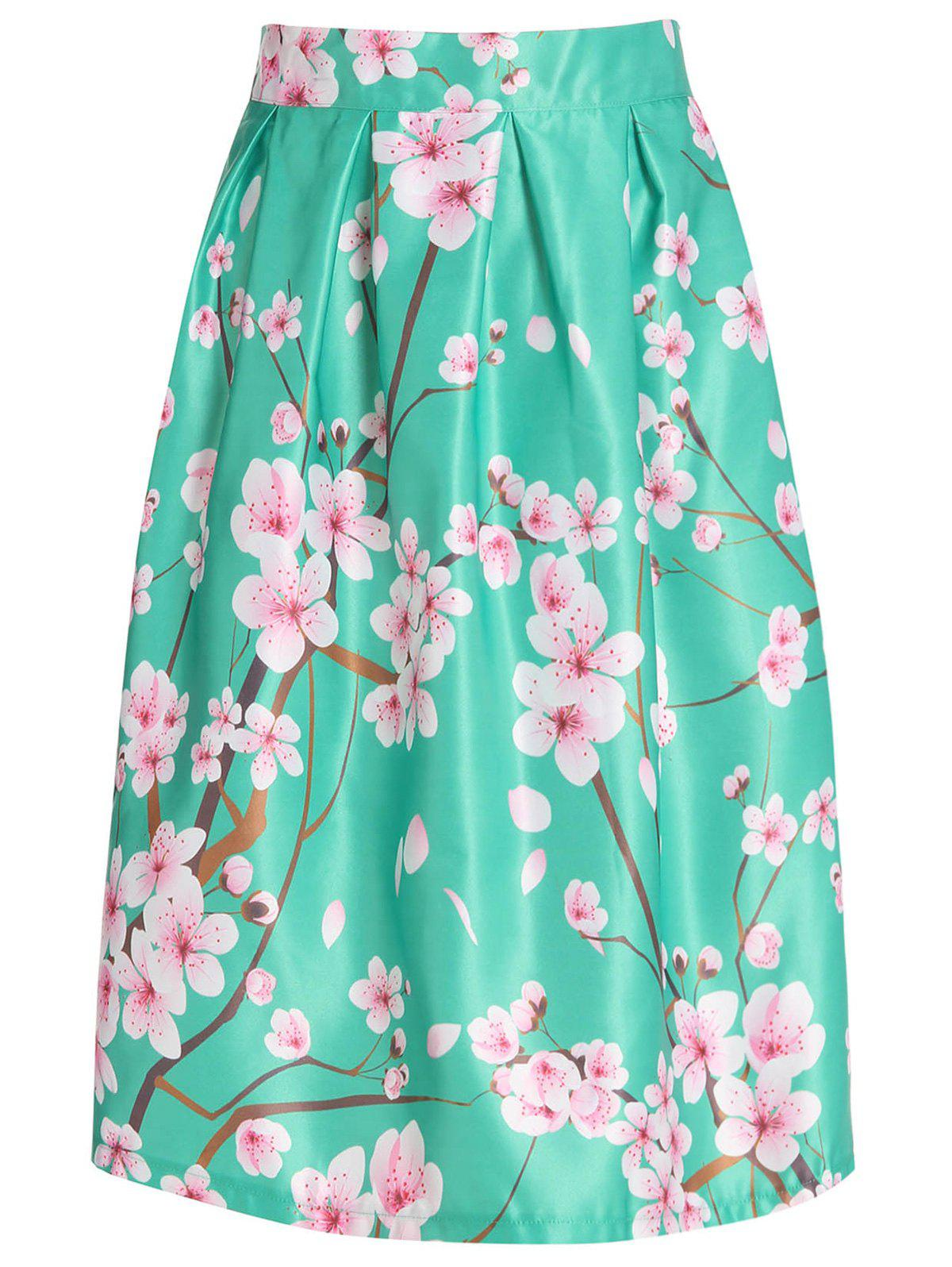 Women's Chic Floral Print High Waist A-Line Skirt -  GREEN