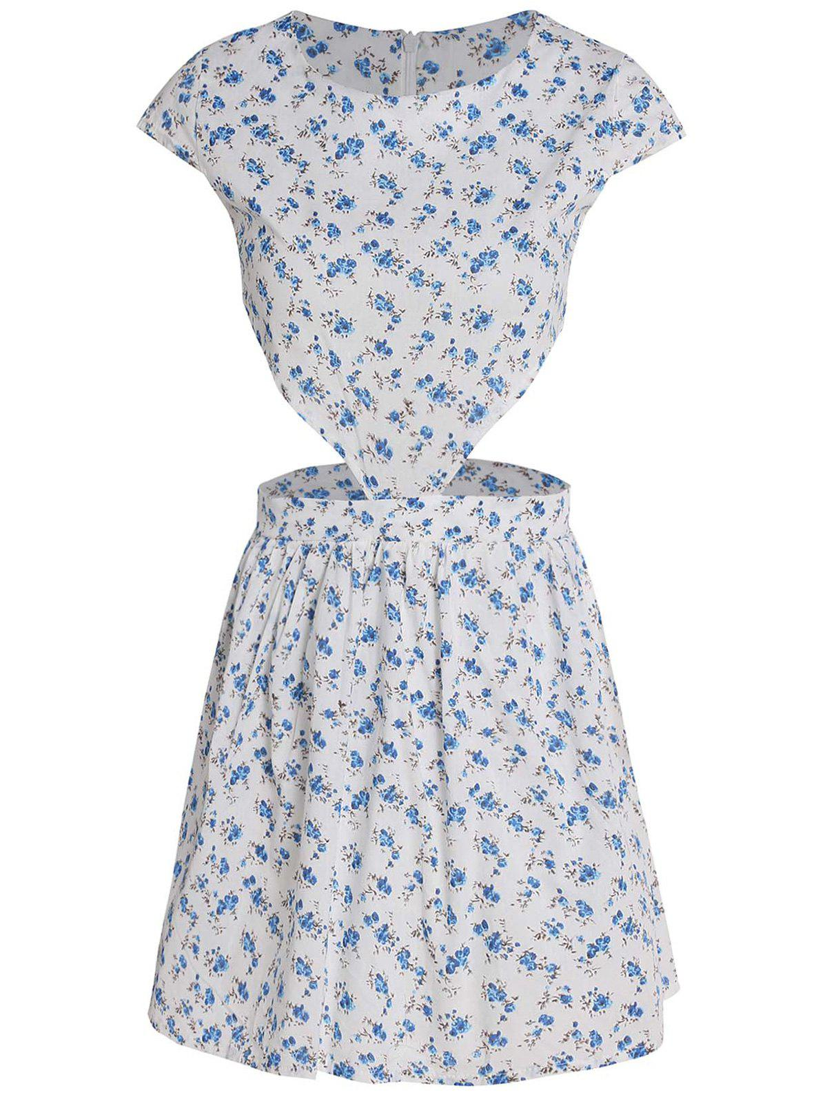 Cute Women's Round Collar Tiny Floral Print Short Sleeve Dress - S WHITE