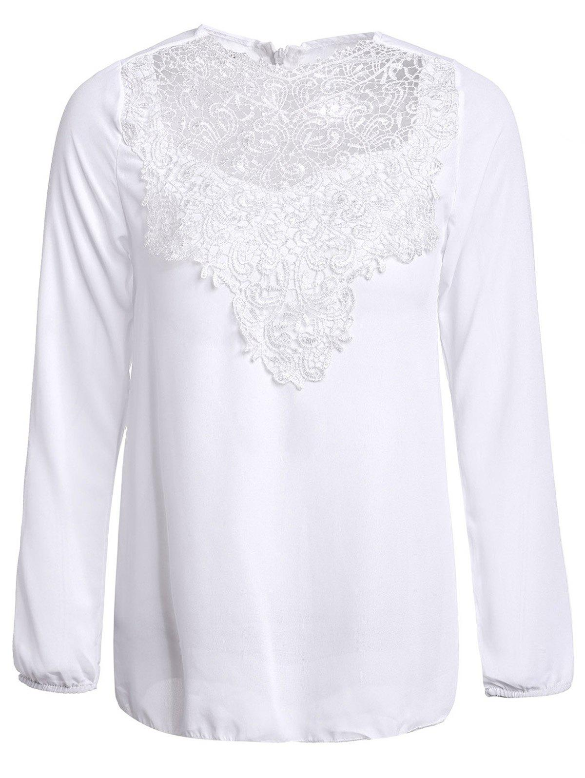 Simple Round Collar Solid Color See-Through Women's Long Sleeve Blouse - WHITE M