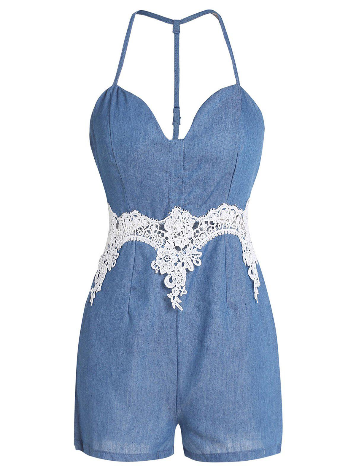 Alluring Spaghetti Strap Hollow Out Lace Spliced Women's Romper - BLUE S
