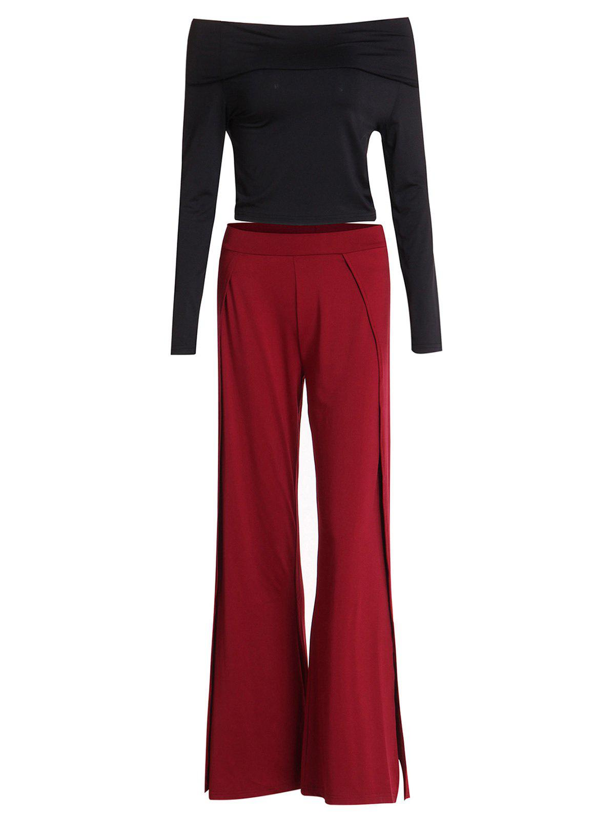 Chic Black Off-The-Shoulder Cropped T-Shirt and Slit Pants Twinset For Women - WINE RED L