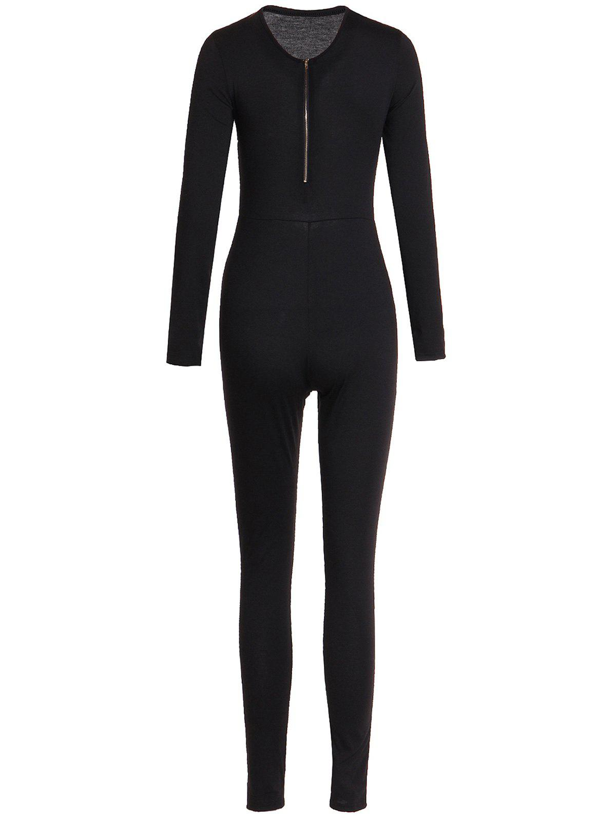 Solid Color Zippered V-Neck Long Sleeve Bodycon Jumpsuit For Women - XL BLACK
