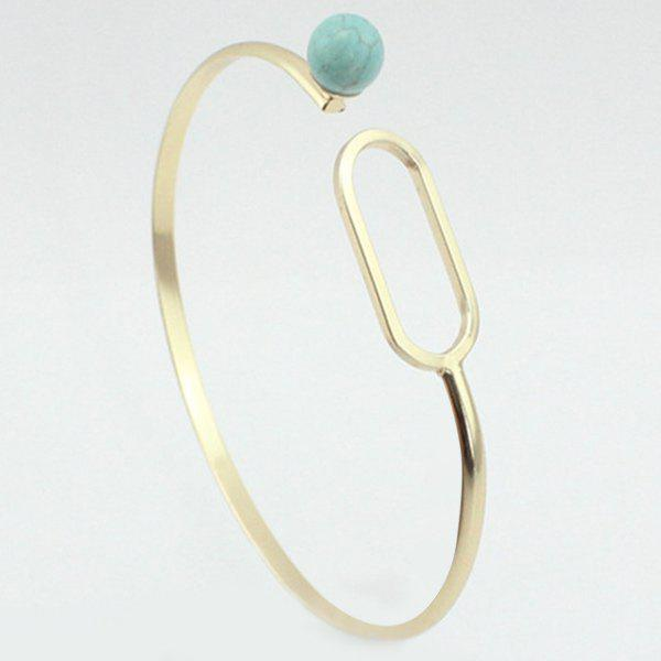 Trendy Faux Turquoise Circle Bracelet For Women - GREEN