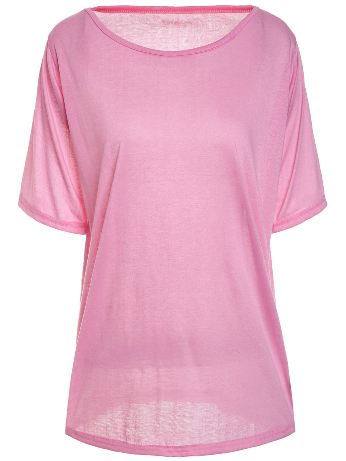 Casual Scoop Neck Solid Color Half Sleeve Women's T-Shirt - PINK M