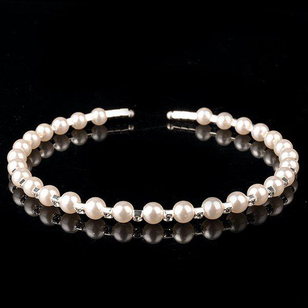 Trendy Rhinestone Faux Pearl Hairband For Women - SILVER