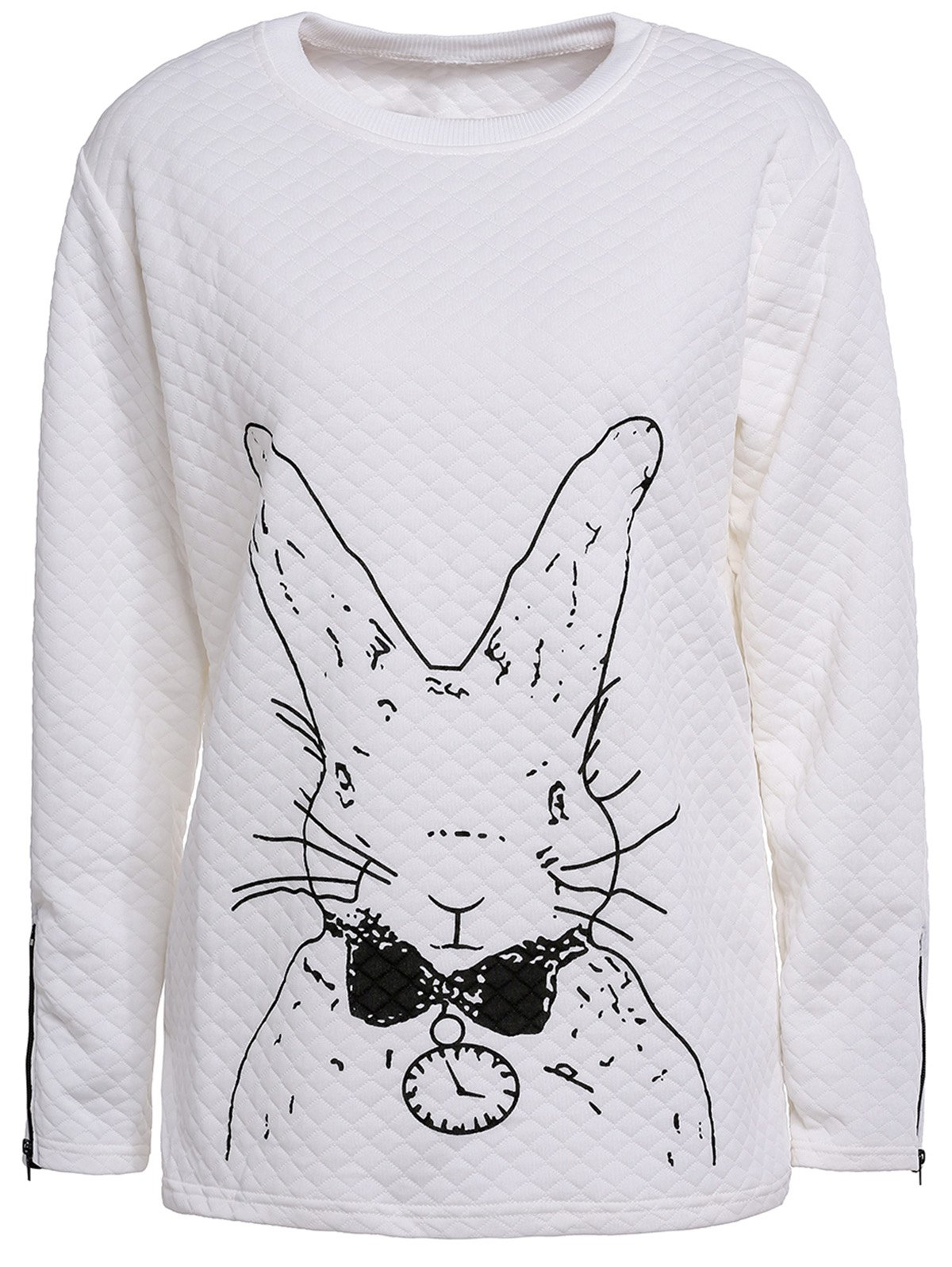 Cute Rabbit Print Scoop Neck Long Sleeve T-Shirt For Women - 2XL WHITE