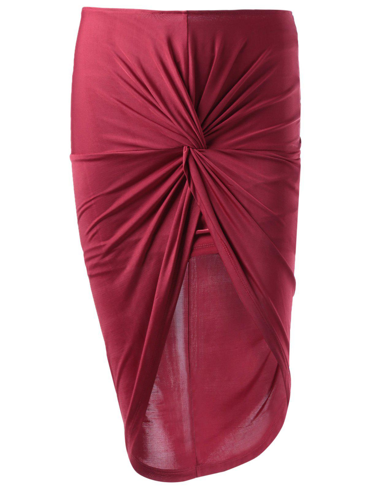 Fashionable Womens Fitted Symmetry High Rise SkirtWomen<br><br><br>Size: XL<br>Color: CERISE