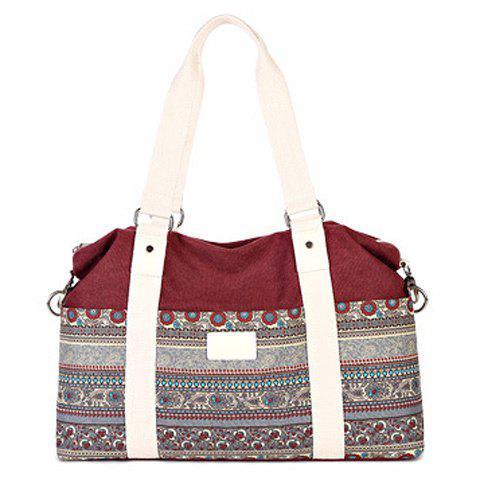 Bohemian Ethnic Print and Canvas Design Women's Tote Bag - WINE RED