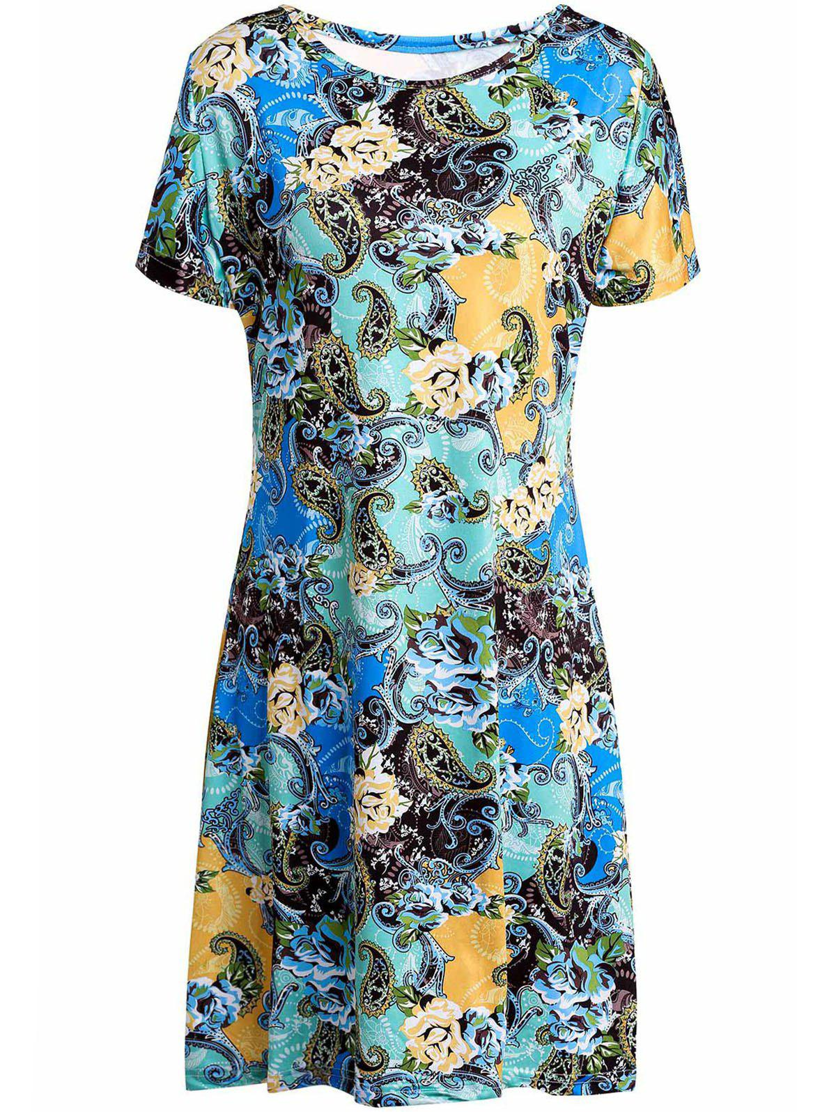Stylish Scoop Collar Short Sleeve Plus Size Printed Women's Dress - COLORMIX 2XL