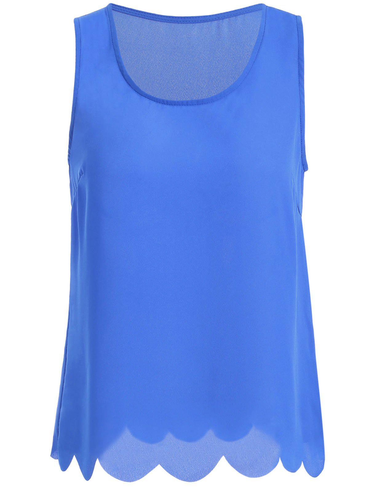 Trendy Lacy Pure Color Tank Top For Women - BLUE 2XL