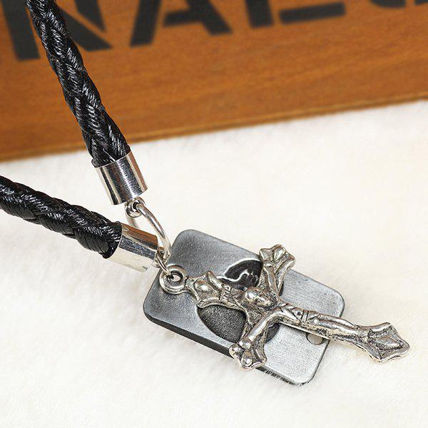 Gothic Style Faux Leather Crucifix Necklace For Women - BLACK