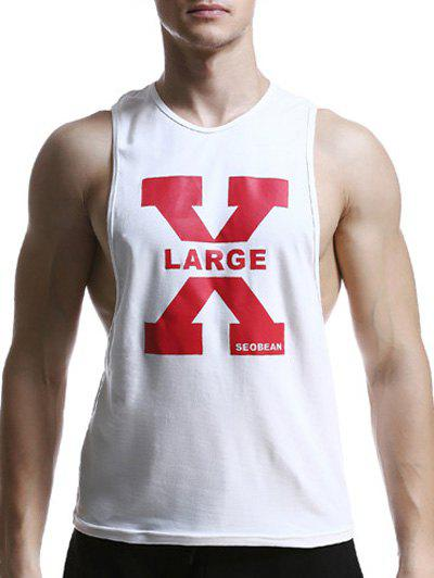 X Letter Print Round Neck Graphic Tank Top - WHITE XL