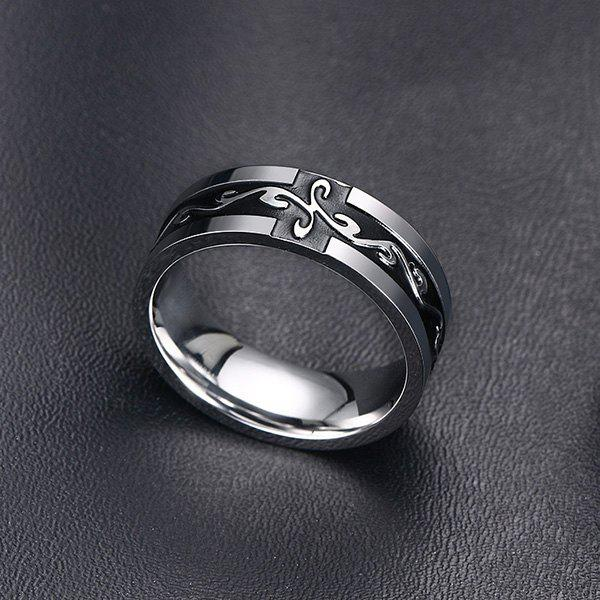 Rock Style Black Enamel Cross Silver Plated Ring For Men - SILVER