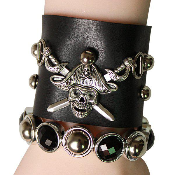 Chic Faux Leather Skull Shape Bracelet For Men