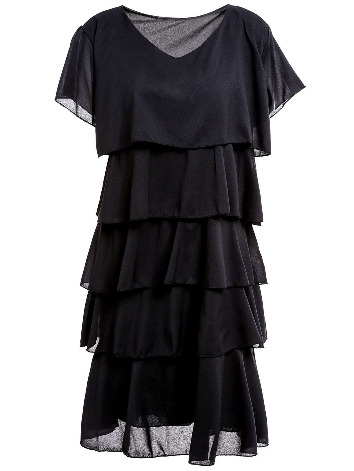 Stylish Scoop Collar Short Sleeve Pure Color Layered Women's Dress - BLACK XL
