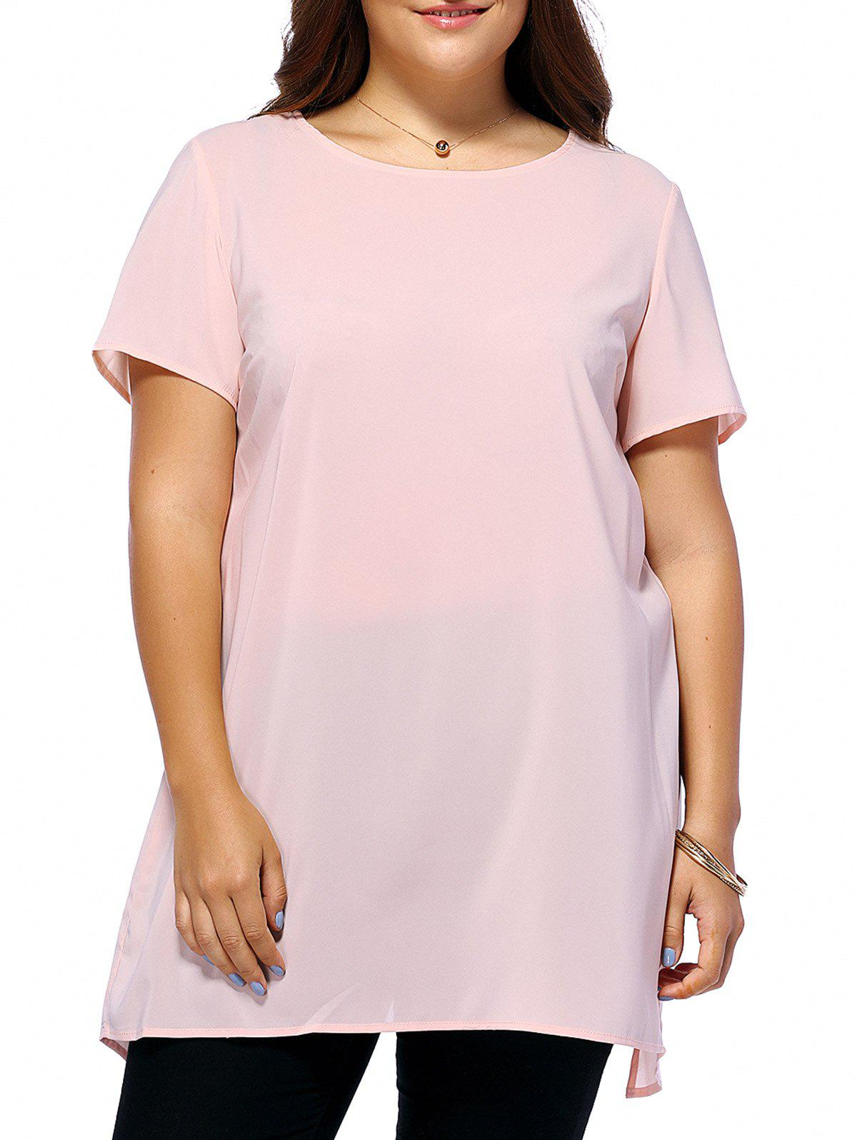 Stylish Plus Size Back Slit Pure Color Women's Blouse - SHALLOW PINK 2XL