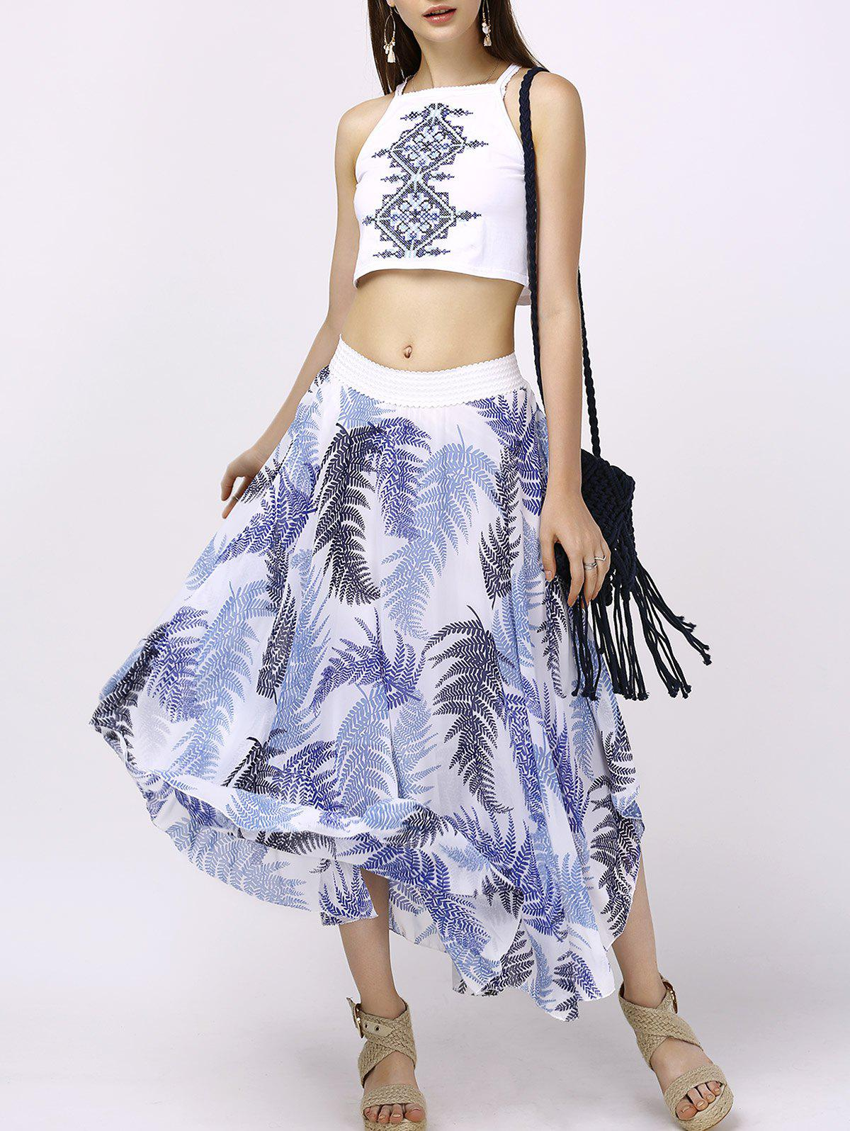 Stylish Round Neck Crop Top + Print Asymmetrical Skirt For Women - WHITE L