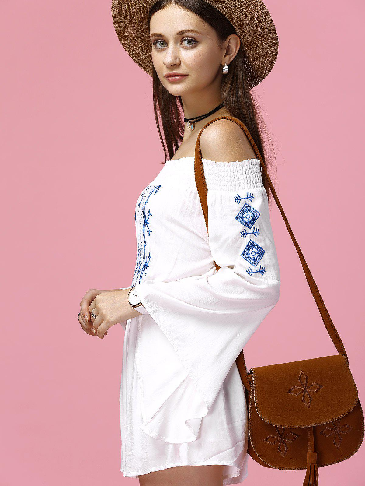 Bell Sleeve Off The Shoulder Embroidered Romper - WHITE 2XL