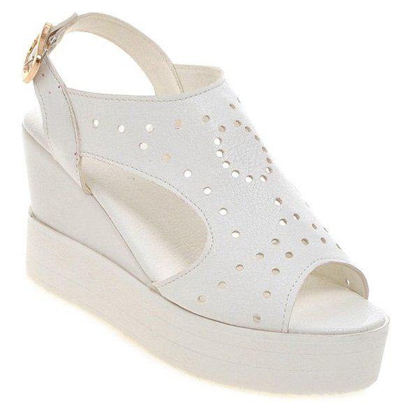Stylish Hollow Out and Peep Toe Design Women's Sandals - WHITE 39