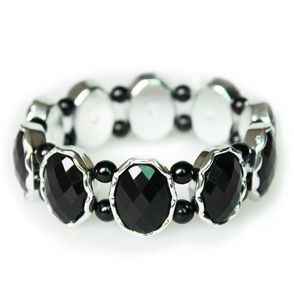 Delicate Style Faux Crystal Beads Bracelet For Women - BLACK