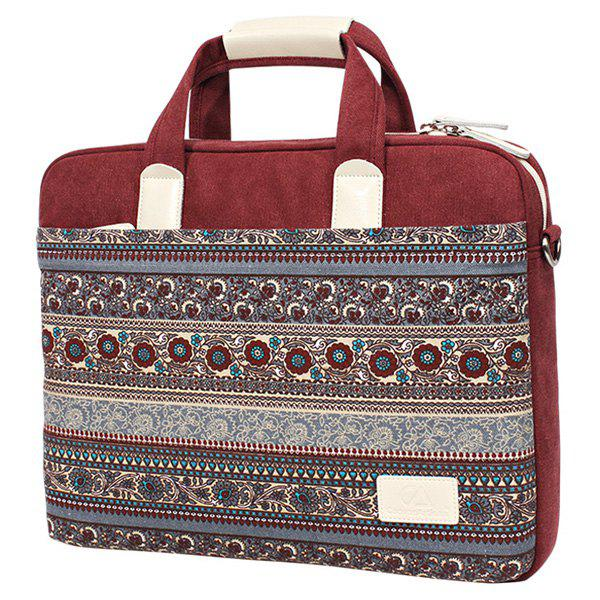 Ethnic Style Print and Canvas Design Women's Laptop Bag - WINE RED