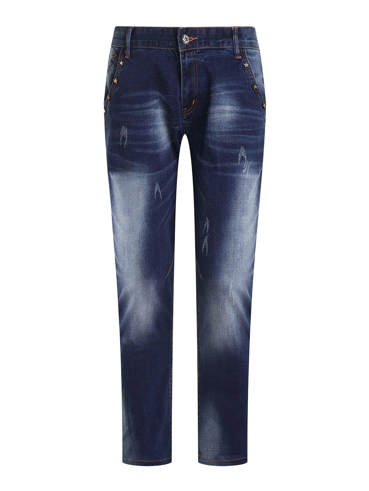 Men's Fashion Ripped Zip Fly Straight Legs Cropped Jeans - BLUE GRAY 31