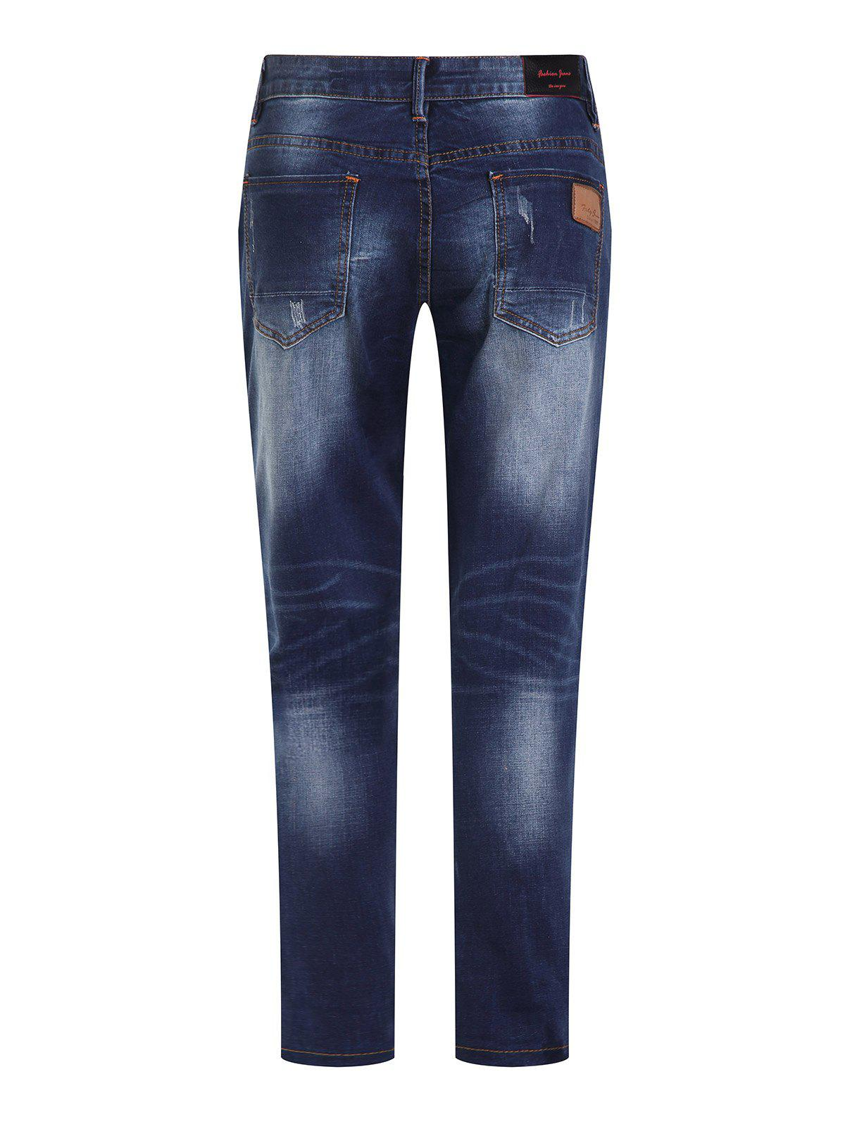 Men's Fashion Ripped Zip Fly Straight Legs Cropped Jeans - BLUE GRAY 36
