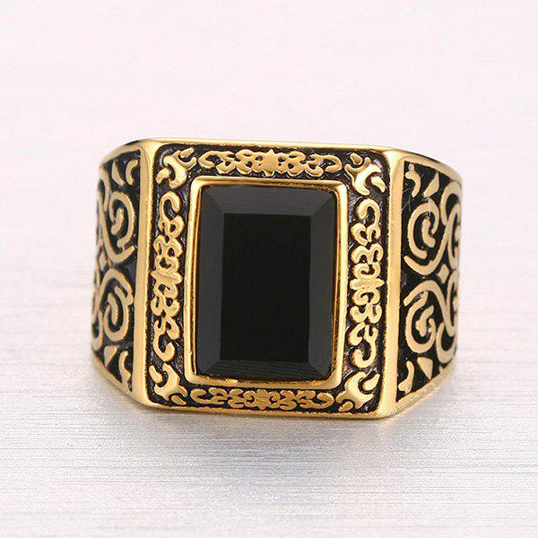 Gothic Style Square Shape Faux Black Onyx Etched Carved Alloy Ring For Men - GOLDEN