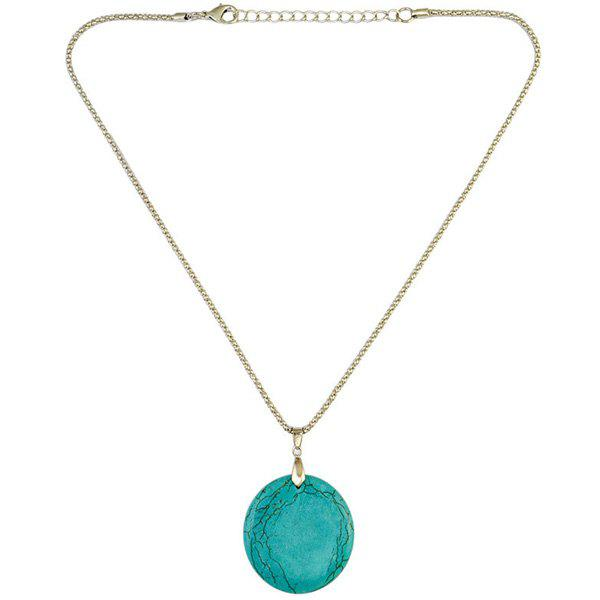 Round Faux Turquoise Necklace - GREEN