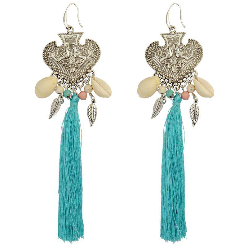 Pair of Tassel Heart Leaf Drop Earrings - BLUE
