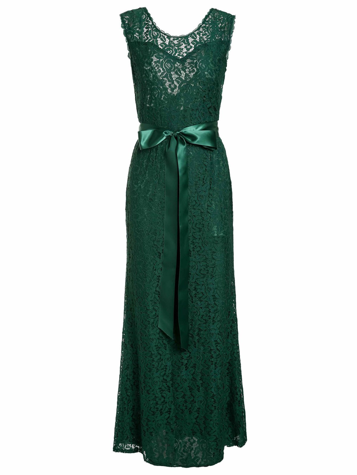 Chci Sleeveless V-Shape Backless Hollow Out Lace Maxi Dress For Women