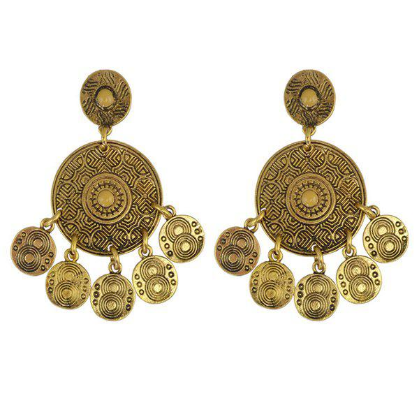 Pair of Coins Drop EarringsJewelry<br><br><br>Color: GOLDEN