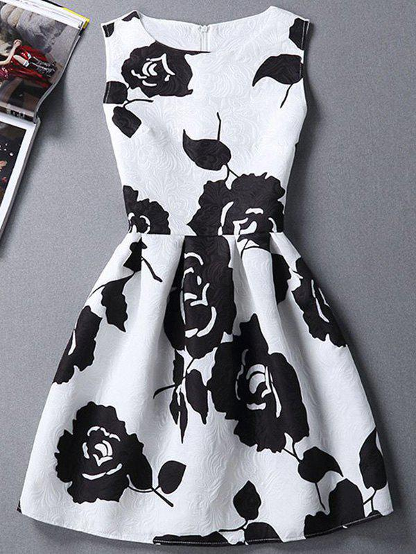 Charming Sleeveless Round Neck Slimming Rose Print Women's Dress