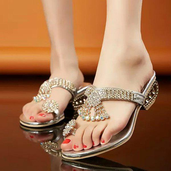 Trendy Metal Color and Rhinestones Design Women's Slippers