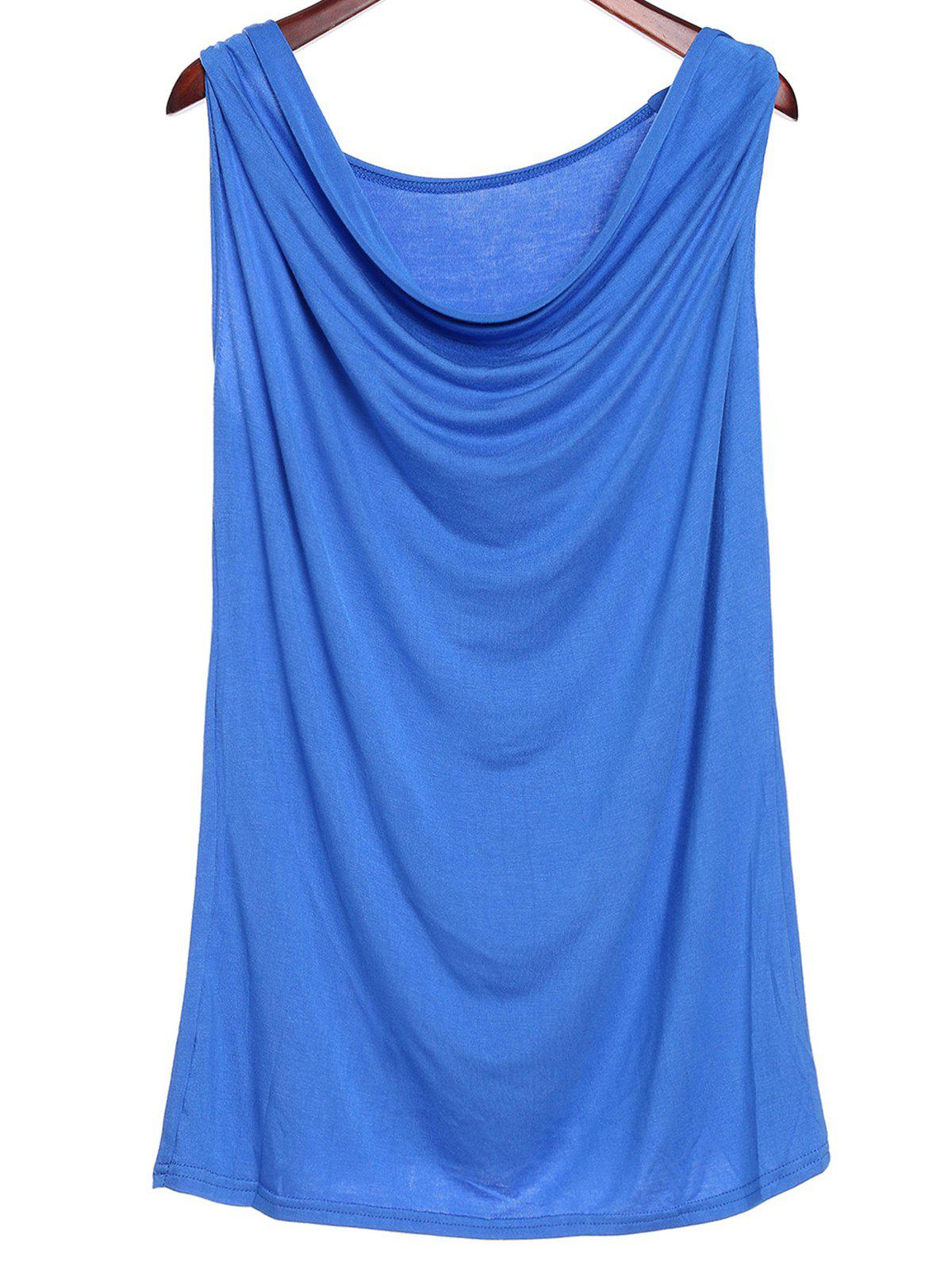 Stylish Sleeveless Solid Color Low Cut Women's Tank Top - BLUE XL