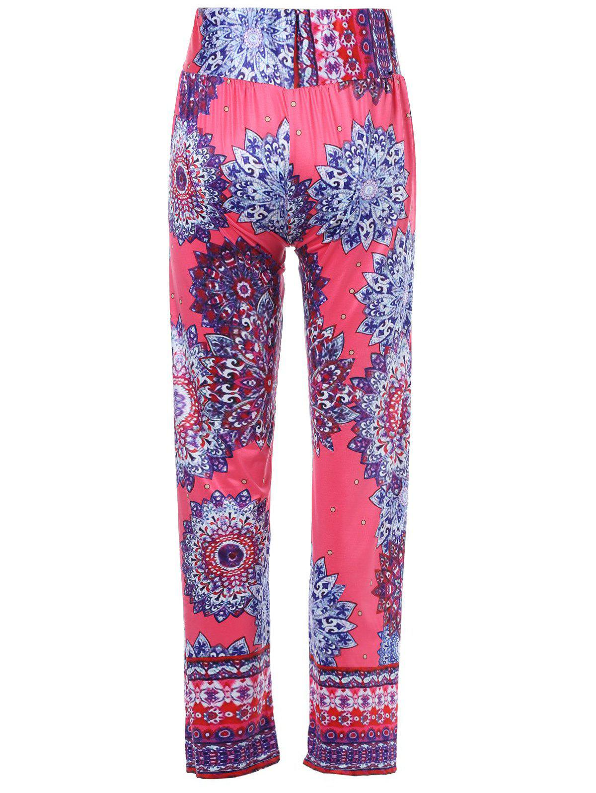 Stylish Mid-Waisted Wide Leg Printed Women's Exumas Pants - COLORMIX S