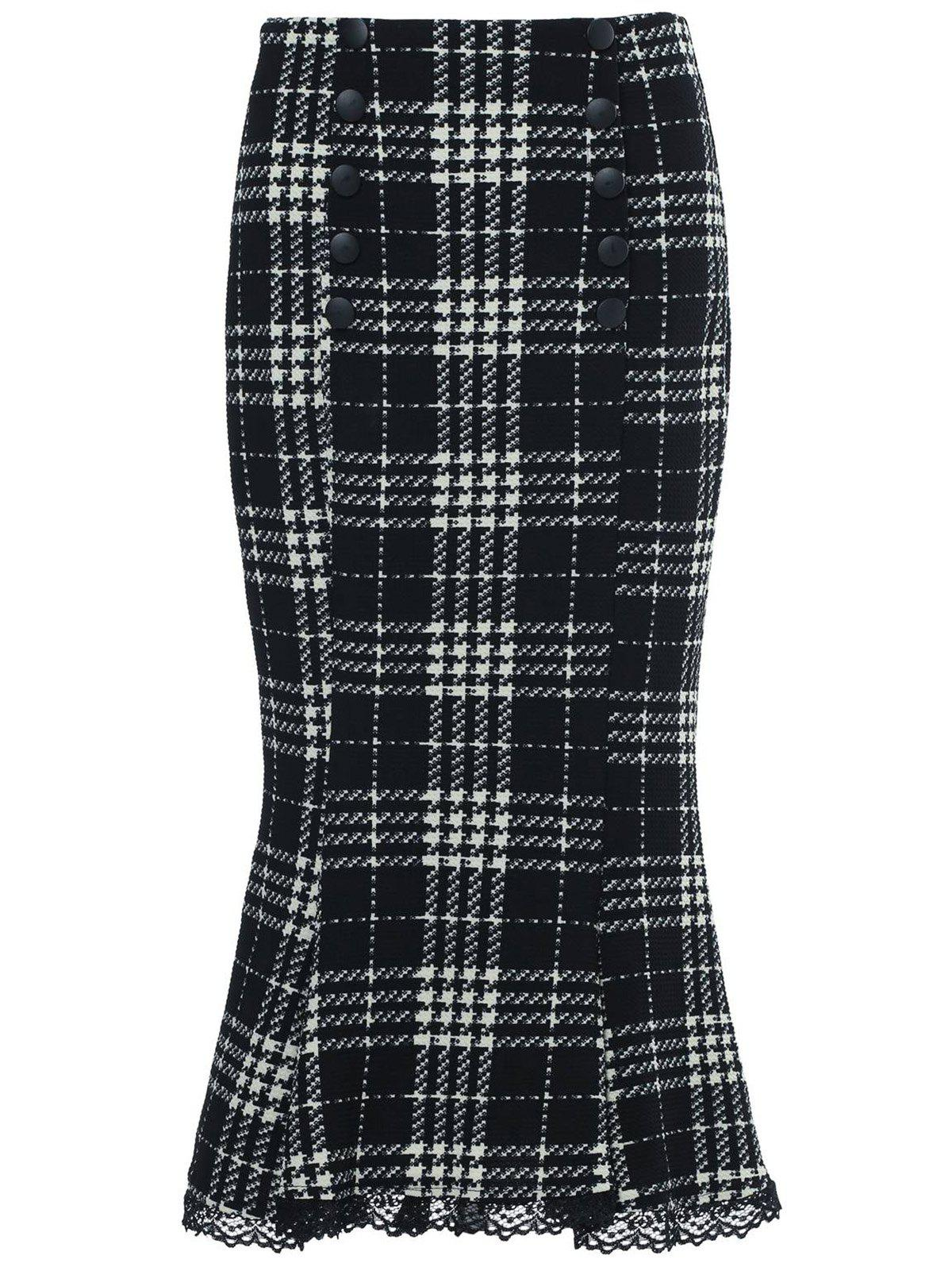Stylish Women's Houndstooth Buttoned Midi Fishtail Skirt - WHITE/BLACK S