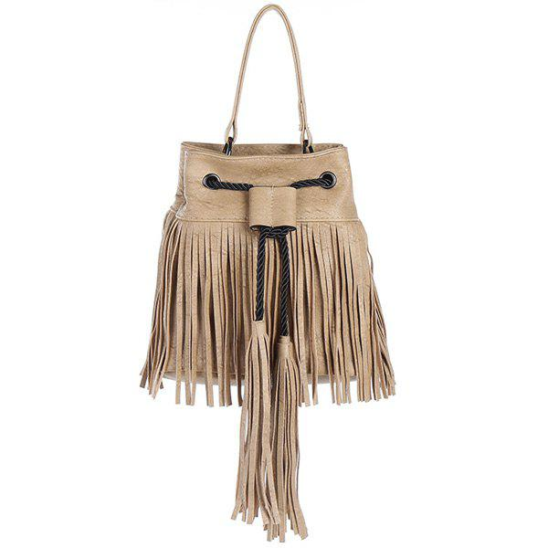 Casual Fringe and PU Leather Design Women's Tote Bag - APRICOT