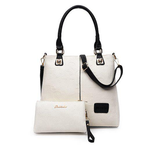 где купить  Graceful Letter Embossed and PU Leather Design Women's Tote Bag  дешево