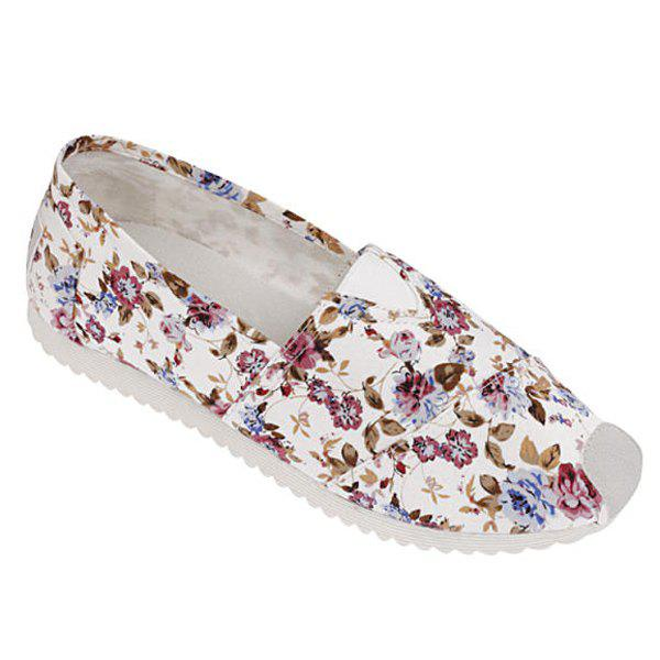 Concise Canvas and Tiny Floral Print Design Women's Flat Shoes - WINE RED 39