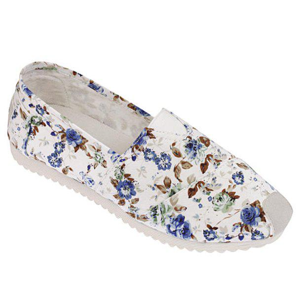 Concise Canvas and Tiny Floral Print Design Women's Flat Shoes