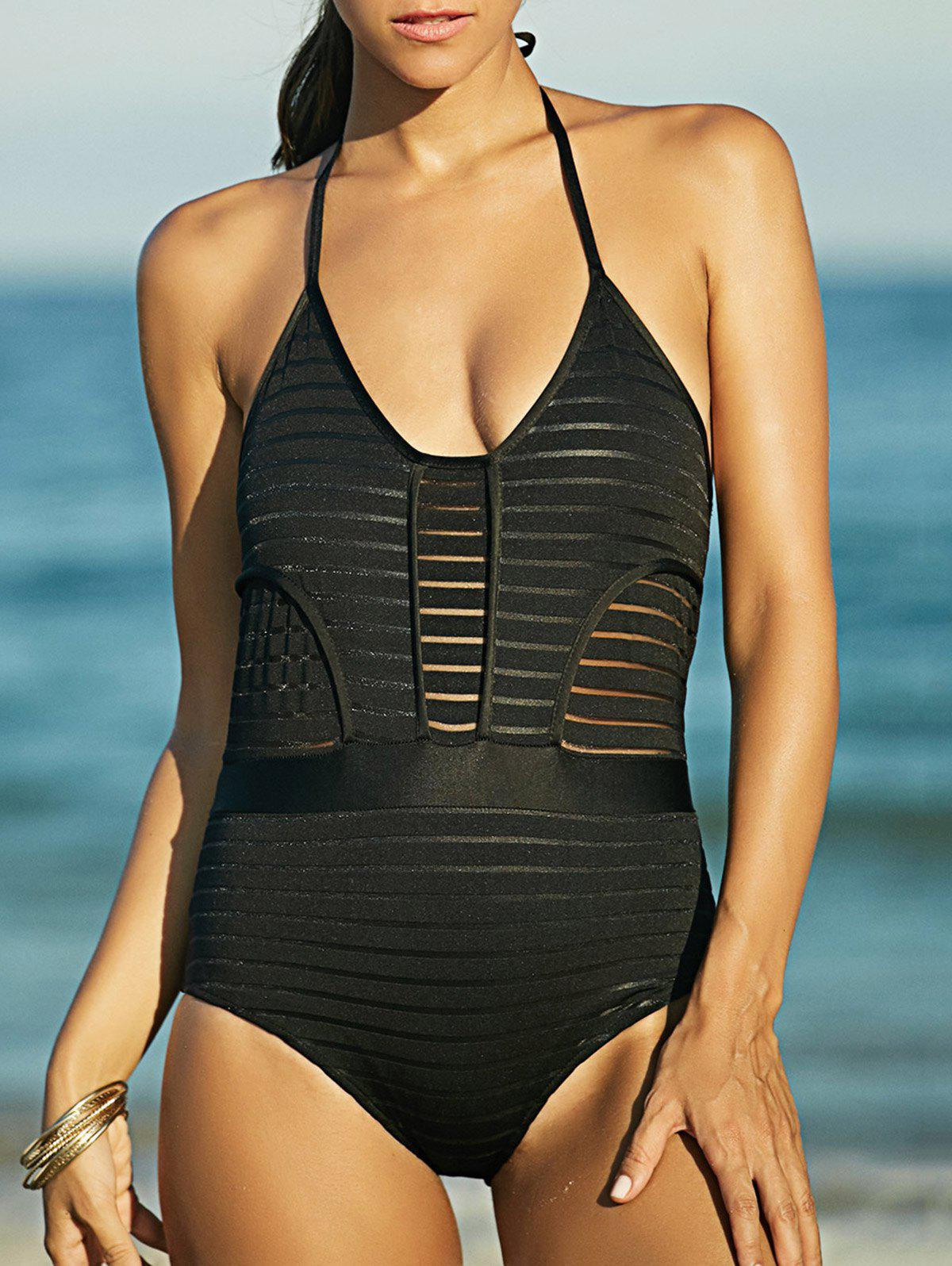 Attractive Women's See-Through Backless Halter Swimwear - BLACK M