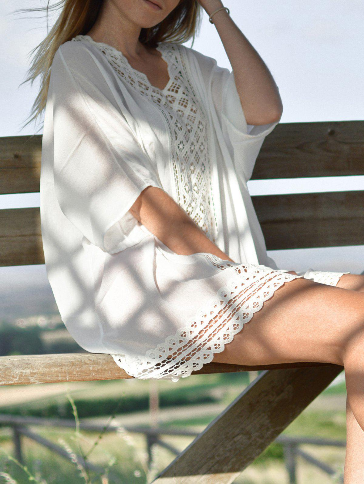 Brief Women's V-Neck 1/2 Sleeve Openwork Cover-Up - WHITE ONE SIZE(FIT SIZE XS TO M)