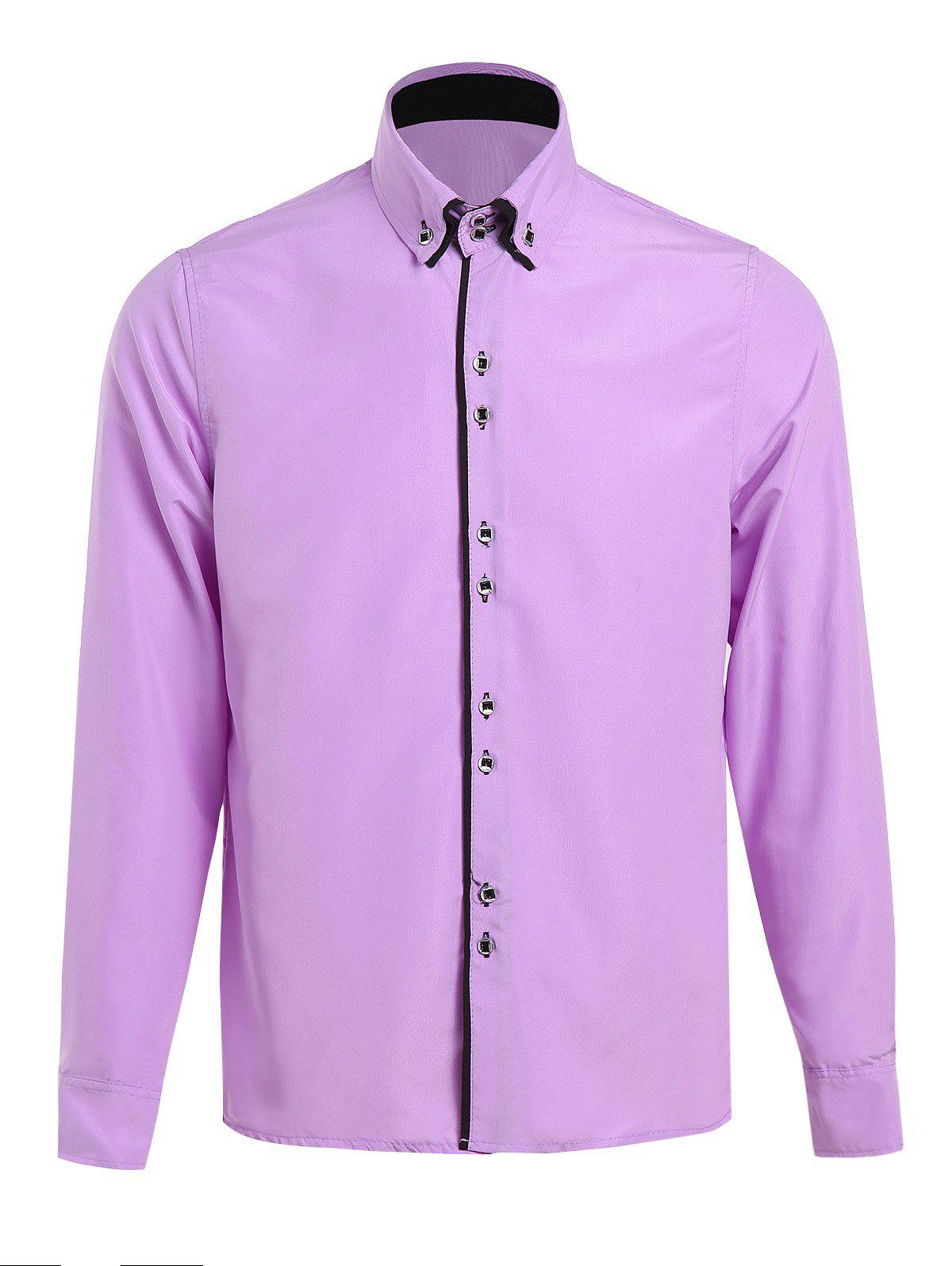 Solid Color Spliced Design Turn-Down Collar Long Sleeve Men's Shirt - M PURPLE
