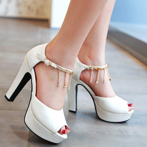 Graceful Peep Toe and Pendant Design Women's Sandals - WHITE 37