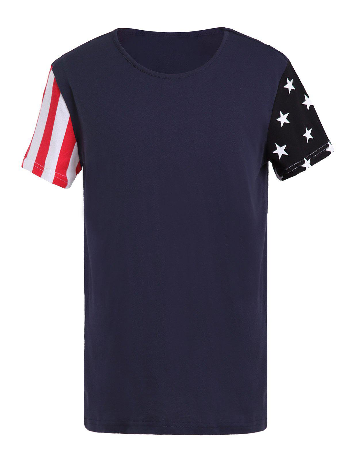 USA Flag Print Spliced Round Neck Short Sleeve Men's T-Shirt