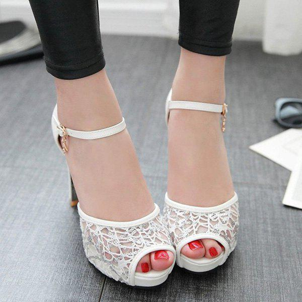 Lace Panels Sequins Chunky Heel Peep Toe Shoes - WHITE 39